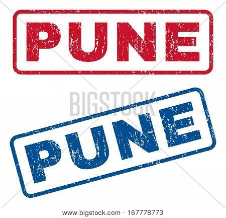 Pune text rubber seal stamp watermarks. Vector style is blue and red ink tag inside rounded rectangular banner. Grunge design and scratched texture. Blue and red emblems.