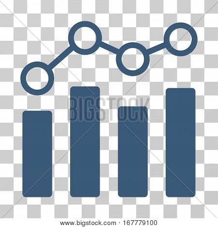 Point Chart icon. Vector illustration style is flat iconic symbol, blue color, transparent background. Designed for web and software interfaces.