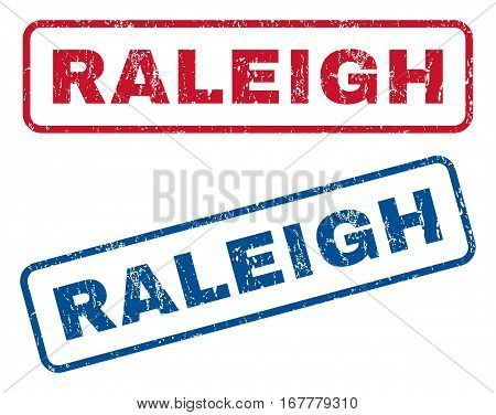 Raleigh text rubber seal stamp watermarks. Vector style is blue and red ink tag inside rounded rectangular shape. Grunge design and unclean texture. Blue and red emblems.
