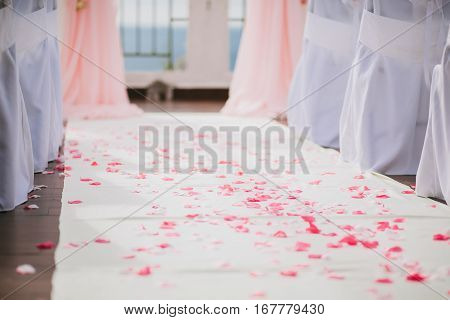 wedding aisle decoration with roses. wedding ceremony