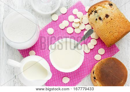 Ingredients for white chocolate frosting for decoration Easter cake kulich recipe step by step
