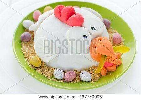Festive fondant cake Easter chicken in nest
