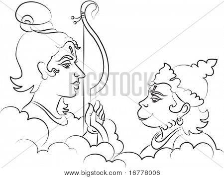 Calligraphic Lord Rama the Hindu God with Hanuman (ape, Monkey god)