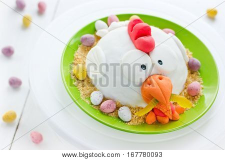Funny Easter chicken holiday cake decorated fondant chocolate candy eggs and cookies crumbs