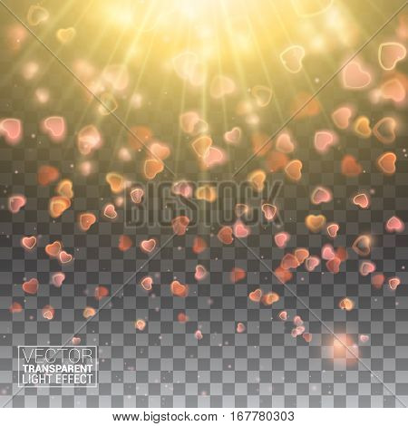Valentines Day with Bokeh Falling Hearts and Confetti. De focused and glittering separated elements. Vector Illustration Effect Isolated on transparent background.