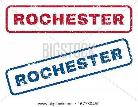 Rochester text rubber seal stamp watermarks. Vector style is blue and red ink tag inside rounded rectangular banner. Grunge design and dirty texture. Blue and red emblems.