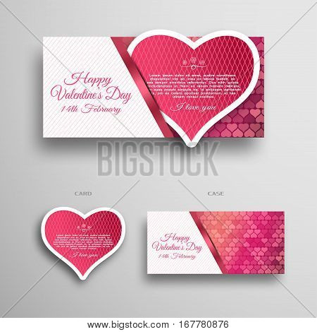Vector set of white and red greeting card for Valentine's Day insert in case with white line pattern and stripe on the gradient gray background.
