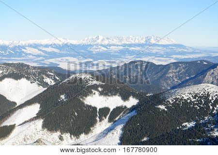 The view on High Tatras mountains in Jasna Low Tatras Slovakia