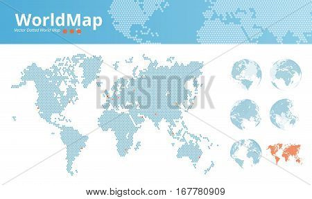 Vector dotted world map. Business world map with marked economic centers and earth globes. Illustration template for web design, annual reports, infographics, business presentations, printed material.