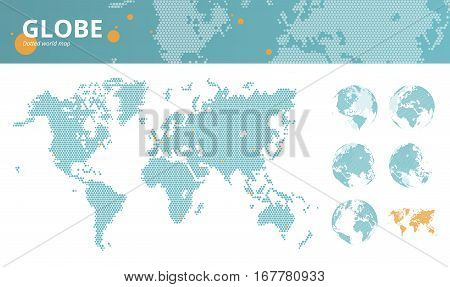 Business dotted world map with marked economic centers and earth globes. Vector illustration template for website design, annual reports, infographics, business presentations, printed material.
