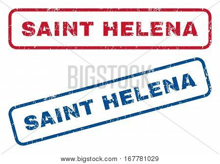 Saint Helena text rubber seal stamp watermarks. Vector style is blue and red ink caption inside rounded rectangular shape. Grunge design and scratched texture. Blue and red emblems.