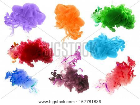 Collection of acrylic colors in water. Ink blot. Abstract background.