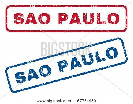 Sao Paulo text rubber seal stamp watermarks. Vector style is blue and red ink tag inside rounded rectangular banner. Grunge design and scratched texture. Blue and red stickers.