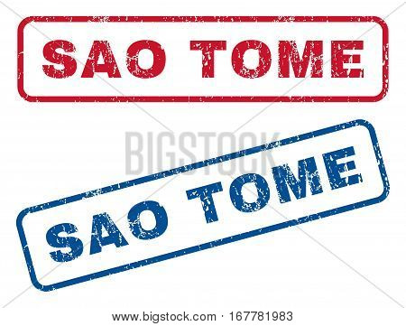 Sao Tome text rubber seal stamp watermarks. Vector style is blue and red ink tag inside rounded rectangular shape. Grunge design and dirty texture. Blue and red emblems.