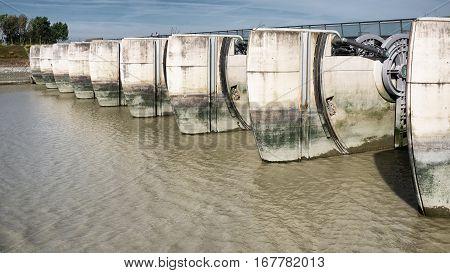Mont-Saint-Michel hydraulic dam on Couesnon River, Normandi France