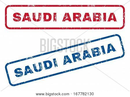 Saudi Arabia text rubber seal stamp watermarks. Vector style is blue and red ink tag inside rounded rectangular banner. Grunge design and dirty texture. Blue and red emblems.