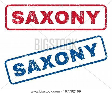 Saxony text rubber seal stamp watermarks. Vector style is blue and red ink caption inside rounded rectangular shape. Grunge design and dust texture. Blue and red stickers.