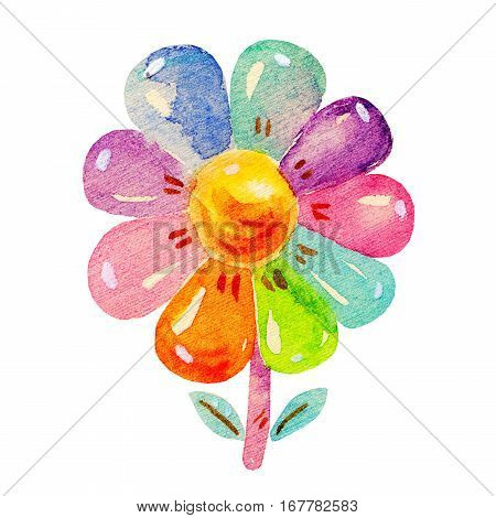 Сolorful Watercolor flower in cartoon childish stile. Hand drawing cute watercolor flower icon illustration isolated on white background.