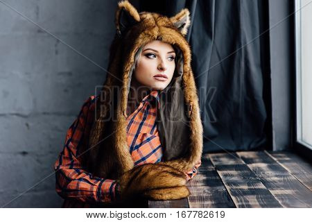 Beautiful Sexy Girl Wearing Brown Fur Hat