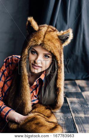 Beautiful Sexy Girl Wearing Brown Fur Hat