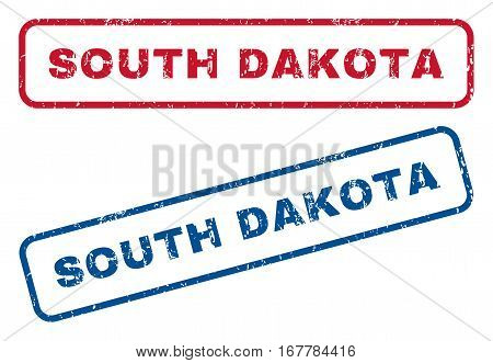 South Dakota text rubber seal stamp watermarks. Vector style is blue and red ink caption inside rounded rectangular shape. Grunge design and dust texture. Blue and red emblems.