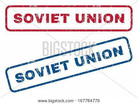 Soviet Union text rubber seal stamp watermarks. Vector style is blue and red ink caption inside rounded rectangular banner. Grunge design and dust texture. Blue and red signs.