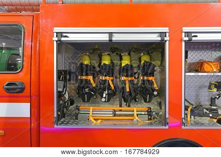 Self Contained Breathing Apparatus With Compressed Air For Firefighters