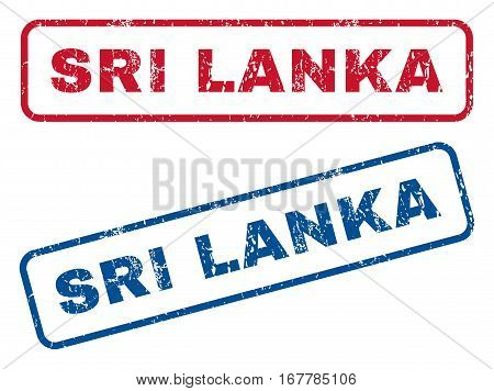 Sri Lanka text rubber seal stamp watermarks. Vector style is blue and red ink caption inside rounded rectangular banner. Grunge design and dirty texture. Blue and red emblems.