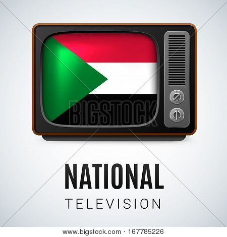 Vintage TV and Flag of Sudan as Symbol National Television. Button with Sudanese flag