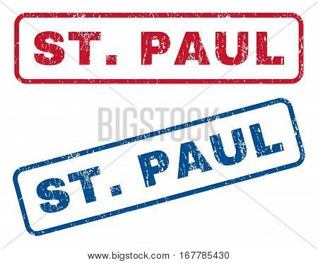 St.Paul text rubber seal stamp watermarks. Vector style is blue and red ink caption inside rounded rectangular banner. Grunge design and dirty texture. Blue and red emblems.