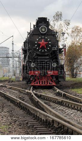 The retro steam locomotive on the railways