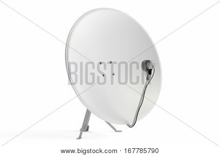 Satellite dish 3D rendering isolated on white background