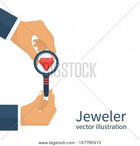 Jeweler  Looking  Diamond