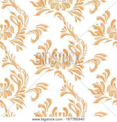 Abstract Orange Floral  Seamless Pattern