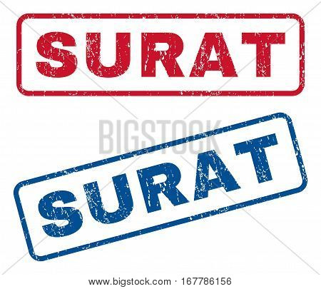 Surat text rubber seal stamp watermarks. Vector style is blue and red ink tag inside rounded rectangular shape. Grunge design and unclean texture. Blue and red stickers.