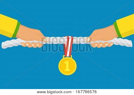 Sport competitions. Two athletes pull the rope prize for winning first place and gold medal with ribbon. Vector illustration flat design. Isolated on background. Persistent struggle. Championship