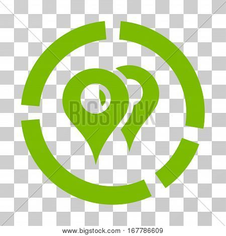 Geo Diagram icon. Vector illustration style is flat iconic symbol, eco green color, transparent background. Designed for web and software interfaces.