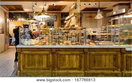 MOSCOW, RUSSIA - JANUARY 31, 2017: Modern Cafe and grand bakery shop interior in Leningradsky railway station