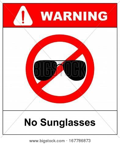 No sunglasses sign. No aviator red prohibition circle icon on white background. Not allowed symbol. Forbidden entry. Ban. Vector illustration