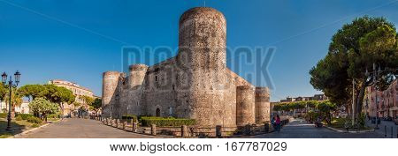 CATANIA ITALY - SEPTEMBER 13 2015: Panorama of the Castello Ursino also known as Castello Svevo di Catania is a castle in Catania Sicily southern Italy.