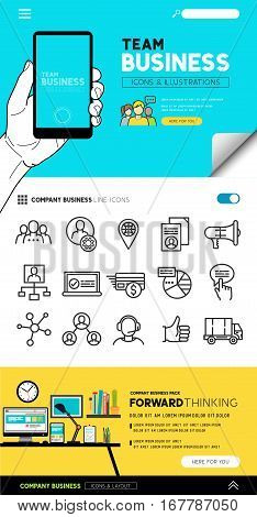 Business layout designs with flat icon set and people illustrations - vector collection.