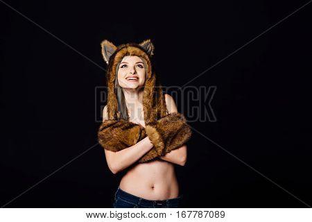 Sensual Woman Without Underwear Wearing Earflaps