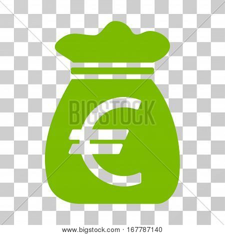 Euro Money Bag icon. Vector illustration style is flat iconic symbol, eco green color, transparent background. Designed for web and software interfaces.