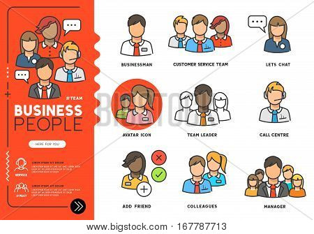 Business people. Profiles of everyday professional men and women in various job roles in smart clothes. Vector illustration line icons.