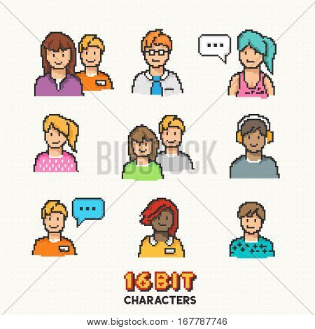 A collection of young adult characters in 16-bit graphics. Vector illustration
