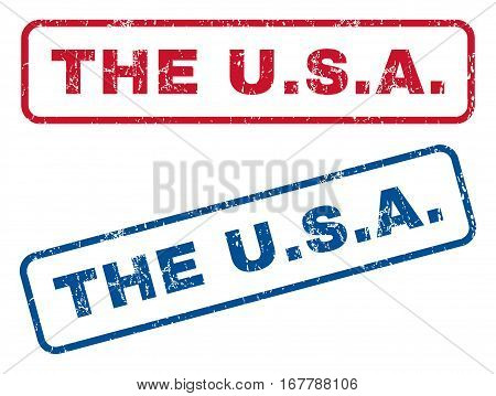 The U.S.A. text rubber seal stamp watermarks. Vector style is blue and red ink tag inside rounded rectangular shape. Grunge design and scratched texture. Blue and red emblems.