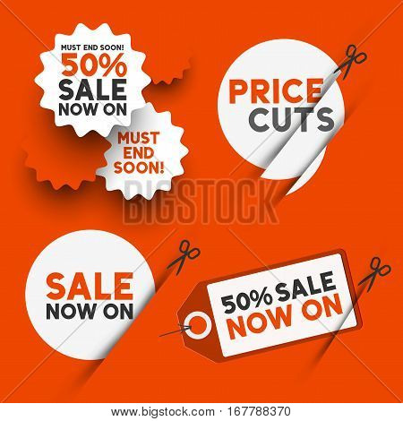 White sale signs and discount price cut symbols. Vector illustration