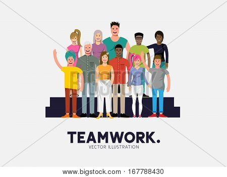A team of diverse and happy casual people. Vector illustration