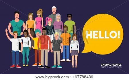 A crowd of happy and welcoming diverse casual people characters . Vector illustration