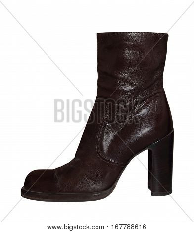 Women high-heeled leathers boot isolated on white background.